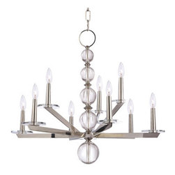 Hudson Valley Lighting - Ashley Chandelier - Ashley Chandelier features tapering crystal globes with a Polished Nickel finish. Available in two sizes. 60 watt, 120 volt B10/Candelabra incandescent bulbs are required, but not included. UL listed. Small: 28 inch width x 24.5 inch height x 78.5 inch length. Medium:  34 inch width x 27.5 inch height x 81.5 inch length.