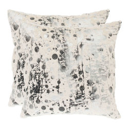 Safavieh Home Furniture - Oscar 22-Inch White Frost Decorative Pillows, Set of 2 - -With a fresh, contemporary eye-catching pattern, this decorative pillow is a lovely addition to any decor. This throw pillow features a modern print design with a hand-woven polyester cover. This throw pillow cover features white, black and grey.  - Please note this item has a 30-day manufacturer's limited warranty that covers product defects. Inspect your purchase upon delivery and notify us immediately with any concerns. Safavieh Home Furniture - PIL154A-2222-SET2