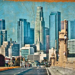 """""""Los Angeles from 4th"""" Artwork - Mixed media painting on wood featuring Los Angeles. The art was created utilizing one of my own images printed on paper and collaged with acrylic paint."""