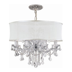 Crystorama - Crystal Chandelier Draped with Antique White Silk Shade (Spectra) - Choose Crystal Type: Spectra.