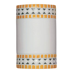 A19 - Borders Wall Sconce Sunflower Yellow - Classic, simple, timeless. The Borders Wall Sconce is reminiscent of the mosaics of ancient Greece and Rome. Straight bands of Sunflower Yellow color at top and bottom set off the squared diamond shapes between. Open on both ends, light washes the wall adding to the ambiance of any setting indoors or out.