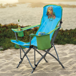Frontgate - Margaritaville Quad Chair - Exclusive Margaritaville Tequila design. Stain resistant polyester fabric is easy to clean. Durable powdercoated steel frame. Soft cooler hold six cans. Built-in insulated beverage holder and bottle opener. The exclusive Margaritaville Tequila logo and built-in insulated beverage holder make this collapsible Quad Chair a must-have accessory for any Parrot Head with tickets to see Jimmy Buffett. All you have to do is find that perfect spot to watch the show, grab a cold drink from the incorporated cooler, and sit back and wait for your favorite song to play..  . . . . Pouch on side for cell phone or small accessories. Inflatable headrest . Ideal for a day at the beach, backyard party, concert or sporting event. Carry bag with shoulder strap. Rubber caps on feet. Imported.