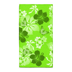 "Eco Friendly Hawaiian ""Aloha Lime"" Hibiscus Bath Hand Towel - Hand Towels are made of a super soft poly fiber fabric with 2mm pile."
