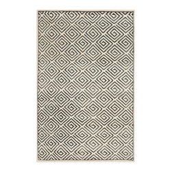 Safavieh - Mosaic Ivory and Grey Rectangular: 5 Ft. x 8 Ft. Rug - - Safavieh's Mosaic collection is inspired by timeless contemporary designs crafted with the softest wool & viscose available. This rug is crafted using a hand-knotted construction with a wool & viscose pile and features main color of ivory  - Finish/Color: Ivory and Grey  - Product Shape: Rectangle  - Construction/Weave: Hand Knotted  - Material: Wool and Viscose  - Pile Height: 0.25-in Safavieh - MOS161A-5