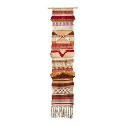 """Used Antelope Canyon 52"""" Woven Wall Hanging - Handmade wool wall hanging loaded with texture and color, taking inspiration from the beautiful forms found in Antelope Canyon, California. Made with wool, cotton and acrylic yarns, and mounted on wooden dowel rod for easy hanging. Measures 52""""L x 11""""W (including fringe)."""