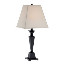 Lite Source - Lite Source Dolan Traditional Table Lamp XSL-06712 - Traditional styling is given a modern touch through the use of crisp lines and angles on this Lite Source table lamp. This traditional table lamp from the Dolan Collection features beveled and tapered detailing throughout the frame, which has been finished in a deep Antique Black hue. The linen Fabric shade compliments and delights.