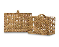 Palecek - Sea Grass Magazine Baskets, Set of 2 - Seagrass is twisted into rope and handwoven in a ''V'' pattern over an iron frame.