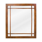 "Hardware Resources - Lyn Design Bathroom Mirror - Chestnut Westcott Wright Mirror by Lyn Design 21"" x 24"" chestnut mirror with fretwork detail and beveled glass Corresponds with VAN037 and VAN037-T -"