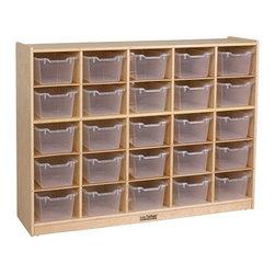 Ecr4kids - Ecr4Kids 25 Tray School Classroom Storage Cabinet With 25 Clear Bins (Birch) - 25-Cubbie Mobile Classroom Storage Cabinet (with 25 Clear Bins)