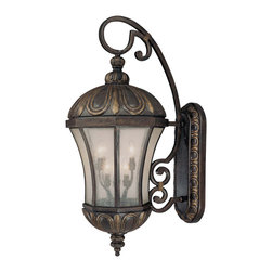 Savoy House - Savoy House 5-2503-306 Ponce de Leon Wall Mount Lantern - A full family designed by Karyl Pierce Paxton evoking visions of Tuscany?s most distinguished architectural pieces. A brand new finish, aptly titled Old Tuscan, mixes hues of bronze and gold, textured with a spectacular crackled art technique.