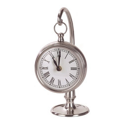 iMax - iMax Pewter Finish Hanging Clock X-0787 - Round pewter desk clock, hangs on stand
