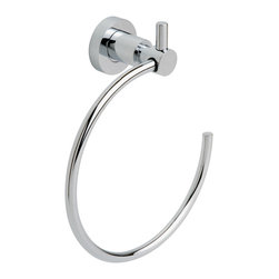 """nie wieder bohren - Germany - no drilling required Bath Hardware by nie wieder bohren Germany, Towel Ring - The LOXX series Towel Ring by nie wieder bohren Germany includes the patented no drill mounting system designed specifically for tile, natural stone, glass, metal, wood and acrylic and plastics. The system installs without any tools, in literally a minute and holds up to 35lbs. The nie wieder bohren mounting system can be used indoor or out and in wet or dry environments. The mounting system carries a Lifetime Warranty and can be removed if needed with no damage to your fine surfaces. """"An optional patented no drill mounting system for drywall is available on request. After placing your order, please click the """"Contact Seller"""" button to message the vendor your request for the no drill mounting system."""""""