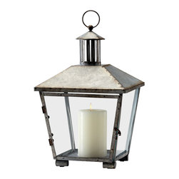 Cyan Designs - Industrial Lantern - Industrial chic meets rustic charm in the Industrial Lantern. This rustic iron lantern will help your mind drift away to a star-filled night on the beach. It makes for a thoughtful addition to a console table or fireplace mantle.  It also makes a charming housewarming present.   Product Details: