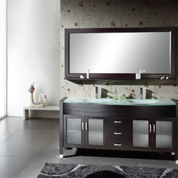 Ava Modern Vanity by Virtu USA - The Ava contemporary double bathroom vanity with glass basin and inlay doors offers both modern clean-lined sophistication and classic warmth. A tempered glass basin rests above the vanity and is enhanced with door glass inserts. The rich espresso finish completes the modern design. The cabinet includes the mirror and faucets