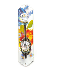 Flower Market Enamel Single Wall Hook - White | MacKenzie-Childs - Extremely functional, very practical, and absolutely charming. Hand decorated enameled steel.