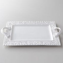 "Horchow - Bianca Leaf Rectangular Handled Platter - White platter with modern rectangular lines is bordered by a design of soft leaves hemmed in by a beaded edge. Made of earthenware. Dishwasher safe. 16""W x 11""D x 2.5""T. Imported."