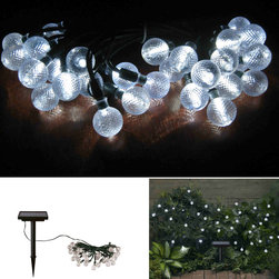 STI - Smart Solar Inc. - Solar Crystal Balls Light Strings 30 CT with White LED's and Ni-Mh Battery - Solar powered decorative light string. Ideal for decorating shrubs, parasols, and doorways. Powered by a separate amorphous solar panel allowing lights to be placed in shady areas. 30 energy-saving LED's with translucent stylized covers.