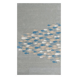 Jaipur Rugs - Transitional Animal Print Pattern Blue Wool/Silk Tufted Rug - CH03, 2x3 - Bring the beach into your home with the Coastal Living Hand-Tufted Collection. Taking inspiration from the casual style synonymous with popular lifestyle publication Coastal Living magazine, this thoughtful collection embodies the warmth and colorful surroundings of the coast. Wool is artfully hand-tufted into a thoughtful range of designs from subtle organic stripes to playful interpretations of a brightly hued school of fish. Unique touches such as art silk accents and carved pile add visual depth and a luxe hand to each piece in the Coastal LivingTM Hand-Tufted Collection.