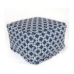 Majestic Home - Indoor Navy Blue Links Large Ottoman - Add a little character to your living room with the Majestic Home Goods Large Ottoman. This Ottoman is the perfect accessory to add comfort and style to any room while functioning as a decorative foot stool, pouf, or coffee table. Woven from cotton duck or twill, these ottomans are durable yet comfortable. The beanbag inserts are eco-friendly by using up to 50% recycled polystyrene beads, and the removable zippered slipcovers are conveniently machine-washable.