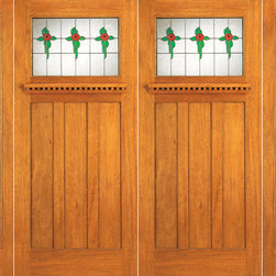"Stained Glass Mission Style, Mahogany Double Door, Two Full Sidelites - SKU#    AC-702-A_2-2-LBrand    AAWDoor Type    ExteriorManufacturer Collection    Arts and Crafts Front DoorsDoor Model    Door Material    Woodgrain    Veneer    Price    2520Door Size Options    2(30"")+2(18"") x 80"" (8'-0"" x 6'-8"")  $02(36"")+2(18"") x 80"" (9'-0"" x 6'-8"")  +$9802(36"")+2(18"") x 84"" (9'-0"" x 7'-0"")  +$1220Core Type    Door Style    Craftsman , MissionDoor Lite Style    1 Lite , Full LiteDoor Panel Style    3 PanelHome Style Matching    Craftsman , Prairie , Bungalow , Mission , Arts and CraftsDoor Construction    Prehanging Options    PrehungPrehung Configuration    Double Door with Two SidelitesDoor Thickness (Inches)    1.75Glass Thickness (Inches)    3/4Glass Type    Triple GlazedGlass Caming    BlackGlass Features    Beveled , Tempered , InsulatedGlass Style    Art GlassGlass Texture    Glue Chip , StainedGlass Obscurity    Door Features    Door Approvals    FSCDoor Finishes    Door Accessories    Weight (lbs)    1190Crating Size    25"" (w)x 108"" (l)x 52"" (h)Lead Time    Slab Doors: 7 daysPrehung:14 daysPrefinished, PreHung:21 daysWarranty"
