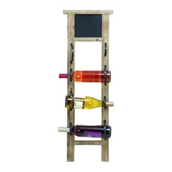 Benzara - Unique Chalkboard Wine Rack with 4 Slots - Unique chalkboard wine rack with 4 slots. Add a unique rack of wine to your decor that fits perfectly with any style. A perfect wine rack to hang in the kitchen or dining room.