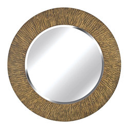 """Kenroy Home - Industrial Kenroy Home Bundle Natural Reed 32"""" Round Wall Mirror - A textured piece that would fit effortlessly into a rustic living space the Bundle wall mirror features a large round frame that resembles a collection of reeds. The frame is coated in a warm natural finish and within the frame lies a sparkling round mirror panel with luxurious beveled glass. Hang on any wall in your home for an accent mirror that reflects in nature-inspired style. By Kenroy Home. Polyurethane construction. Natural reed finish. Beveled glass. 33"""" round. Mirror glass only is 24"""" round.  Polyurethane construction.  Natural reed finish.  Beveled glass.  33"""" round.  Mirror glass only is 24"""" round."""