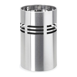 Blomus - Slice Stainless Steel Bathroom Waste Bin - Includes plastic insert. Made of stainless steel. Designed by Stotz-Design. 1-Year manufacturer's defect warranty. 8 in. Dia. x 12.64 in. H