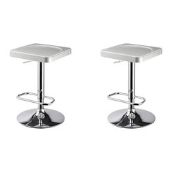 Furnituremaxx - I-Stool ABS Adjustable Swivel Barstools, White, Set of 2 - This I-Stool is a unique, contemporary addition to your home. The backless ABS seat, round sturdy footrest and height adjustable lever provides both style and function. An eye-catching, versatile purple and chrome easily complements your homes existing decor. Seat adjusts with a gas-lift mechanism.