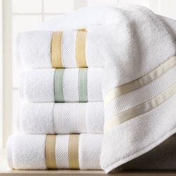 "Matouk - Matouk Marlowe Bath Towel, 30"" x 52"" - Fluffy white towels and bath rug are trimmed with tape detailing for a crisp finish. Fabric woven in Portugal; towels assembled in the USA. 650-gram, two-ply, long-staple cotton terry provides super absorbency and plush texture. Tape trim available in..."