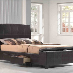 Emerald Home Furnishings LLC - Irvine Upholstered Storage Bed - Chocolate Faux Leather Multicolor - EMER396 - Shop for Beds from Hayneedle.com! Smart storage and contemporary style the Irvine Upholstered Storage Bed - Chocolate Faux Leather has everything you need. This platform bed features tucked away storage options and is wrapped in faux leather. It's well-built with a solid hardwood frame and multiple slats for maximum support. Dark chocolate faux leather upholstery with accent stitching creates the look. Not just handsome this bed features two underbed storage drawers and storage in the footboard! Because it has a platform design it requires no box spring simply your mattress.Bed Dimensions:Queen: 82L x 63W inchesKing: 82L x 78W inchesAbout Emerald Home FurnishingsFounded in 1962 Emerald Home Furnishings supplies to home furniture retailer throughout the United States Canada Mexico Australia Japan Taiwan England and other countries. The company originally started as a distributor of bed frames and furniture and over the years has added a number of high-quality items to its product line. The company s mission is to strive for innovation integrity and excellent service.