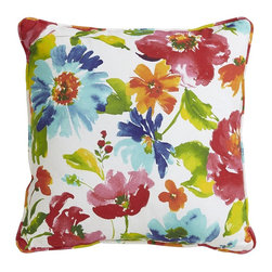 Belle Watercolor Floral Pillow - This is a bright, fun, cheery throw pillow. The garden must be on my mind …