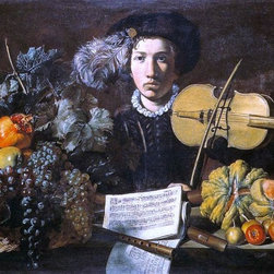 """Master of Acquavella Still-life Still-Life with a Violinist - 16"""" x 24"""" Premium - 16"""" x 24"""" Master of Acquavella Still-life Still-Life with a Violinist premium archival print reproduced to meet museum quality standards. Our museum quality archival prints are produced using high-precision print technology for a more accurate reproduction printed on high quality, heavyweight matte presentation paper with fade-resistant, archival inks. Our progressive business model allows us to offer works of art to you at the best wholesale pricing, significantly less than art gallery prices, affordable to all. This line of artwork is produced with extra white border space (if you choose to have it framed, for your framer to work with to frame properly or utilize a larger mat and/or frame).  We present a comprehensive collection of exceptional art reproductions byMaster of Acquavella Still-life."""