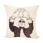 reStyled by Valerie - Jay-Z Decorative Pillow, Linen Pillow - Turn up your cool quotient with this snazzy hand screen-printed linen blend throw pillow. Paying tribute his own Roc-A-Fella records, Jay-Z throws his classic diamond sign in an image based on artist's Christabel Dunham's drawing.