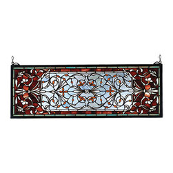 """Meyda - 28""""W X 10""""H Versaille Transom Stained Glass Window - A pomegranate red border is centered over a frostyblue field with flowers and flourishes of wispy whiteand amber jewels. This meyda tiffany classic transomwindow is created of 512 hand cut pieces of stained artglass. The solid frame is made of the same brass as thehanging bracket and chains that are included with thiswindow."""
