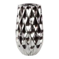 Urban Trends Collection - Silver Ceramic Vase - Update your home decor with this stylish silver ceramic vase. This vase is for decorative purposes only and does not hold water.