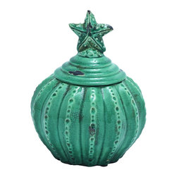 """Starfish Decorative Jar in Blue - This weathered Starfish jar is a perfect addition to your kitchen or home Decor. The star shaped design on the lid and the pumpkin-styled jar give this accessory such appeal. The glossy finish with crackled and weathered paint further enhances the jar with a rustic and antique look. Dimensions: 8""""W x 8""""D x 10""""H, 4 1/2""""H Lid"""