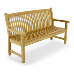 Westminster Teak Furniture - Veranda 5ft Teak Bench - The Veranda Teak Bench has been very popular since its introduction and because its design has three sizes, 4ft, 5ft, and 6ft. It offers the user greater flexibility and coordination for your home design or public spaces needs. Pair this teak bench with any of our other Veranda pieces to complete the collection. Veranda Teak Benches all have built in lumbar support and curved seats for absolute comfort.