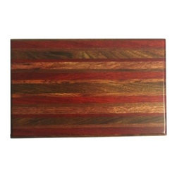 "Exotic Chopping Blocks - 8"" x 12"" Cutting Board - This board is elegant, sophisticated, and just the right amount of color to brighten up the room it is used in. The woods included in this board are Padouk, Seduoa, and Canary, all from South America.  All the woods are their natural colors. There has been no paint or stain added."