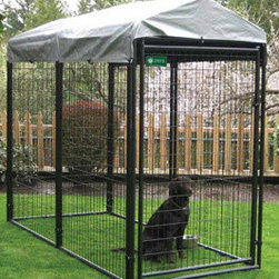 """Jewett-Cameron Companies - AKC Probreeder Kennel, 8'L x 4'W x 6'H - Commercial grade steel frame, with 8 gauge welded wire mesh and a round tube design. 2-Step Powder Coating process. After welding, the complete panel is coated with zinc enriched primer then powder coated to inhibit rust. Center mesh weld, eliminates sharp edges. All kennels have a safety square corner design and 1"""" raised legs for easy cleaning to help prevent bacteria build-up. All kennels include a Lockable, dog-safe latch."""