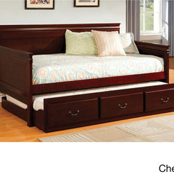 None - Minsk Twin Trundle Daybed - This English-style platform daybed features straight lines and a dark finish with a pull-out trundle that provides extra sleeping space and is perfect for that extra guest. A slat kit is included with the set,so you don't need a box spring.