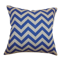 """The Pillow Collection - Xayabury Zigzag Pillow Peacock Blue Denton 20"""" x 20"""" - Lend a modern touch to your interior with this inviting zigzag pillow. This throw pillow is a perfect accessory to add to your space. This accent pillow comes with a refreshing Peacock Blue and Denton hue. Layer this square pillow with other gorgeous styles and textures for an elaborate space. This decor pillow is made from 100% soft cotton material. Hidden zipper closure for easy cover removal.  Knife edge finish on all four sides.  Reversible pillow with the same fabric on the back side.  Spot cleaning suggested."""