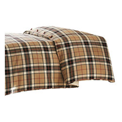 """Mystic Valley - Mystic Valley Traders Fulham Road - Super King Duvet Cover - The Fulham Road duvet cover is fashioned from the traditional Tartan fabric, reversing to a Tartan self-flap contrasting with neutral Cobblestone and Claret buttons, and finished with Tartan piping.  As with all Mystic duvet covers, it has a hidden zipper and interior ties in each corner to hold the duvet fast; super king 114""""x98"""""""