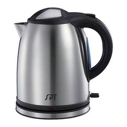 SPT Appliance - Stainless Cordless Electric Kettle - ETL listed. Cord storage. 1.2 liters capacity. Anti-scale mesh filter. Stay-cool handle and base. 360 degrees swivel base. Concealed heating element. External water level indicator. Dry-boil and overheat protection. Patented STRIX temperature controller. Cord-free kettle easily removes from base. Powerful 1500W heating element for rapid boiling. Automatic and manual switch off with power indicator. Stainless steel construction. Input voltage: 120V / 60Hz. Power consumption: 1500 W. Capacity: 1.2 liters. Stainless grade: SUS304. Unit base: 6 in. Dia.. Unit height: 8.9 in.. 7 in. W x 8 in. D x 9 in. H (2 lbs.)With 1500 watts of power, this electric kettle boils 1.2 liters of water quickly, allowing you to enjoy your tea, coffee or instant noodle in minutes. Designed with a concealed heating element, mineral deposits are kept to a minimum and makes cleaning easier. Unit automatically shuts off when water has boiled. Kettle rotates 360 degrees on the base and lifts cord-free for easy pouring. Also features an anti-scale mesh filter to trap lime and calcium particles, power indicator light and water level indicator.