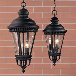 Murray Feiss - Murray Feiss OL1911BK Castle Traditional Outdoor Hanging Lantern - Inspired by the days of Sir Lancelot and King Arthur, these handsome Renaissance lanterns feature clear, bent and beveled glass. All die cast aluminum with intricate detail and bead work in two wonderful finishes.
