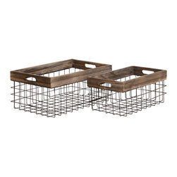 Classy Styled Metal Wood Basket, Set of 2 - Description: