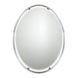 Quoizel - Quoizel Ritz Mirror X-C62434ZRPU - From the Ritz Collection, this Quoizel Lighting mirror comes in a sleek and classic ovular shape with delicate trim that creates a versatile look and feel. The beveled oval mirror appears to be floating within the ovular frame, which comes finished in Polished Chrome.