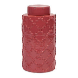 "IMAX - Essentials Melon Sorbet Large Canister - With it's bright color and embossed quatrefoil pattern, this large lidded ceramic canister is both a fun and functional part of the Melon Sorbet collection from Essentials by Connie Post. Item Dimensions: (11.75""h x 6""w x 6"")"