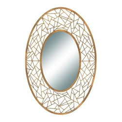 Oval Artsy Wall Mirror - 46H x 30.5W in. - Somewhere between spider web and stained glass, the Oval Artsy Wall Mirror - 46H x 30.5W in. is going to be an eye-catching piece in any space. This handsome oval wall mirror sits inside a frame of welded iron rods with a copper finish that sports a gentle patina.About AspireSpecializing in quality lamps, wall art, clocks, mirrors and accent vases, Aspire offers a wide selection of products for every taste. You'll appreciate the designer look without the designer prices. Aspire is a family-owned and operated business that's served the home decor industry for over 30 years. Thanks to beautiful design with quality in mind, they continue to flourish.