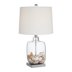 "Lamps Plus - Coastal Square Glass Fillable Table Lamp - This fillable glass table lamp allows you to easily update your decor on a whim. The clear glass body can be filled with keepsake items collectibles or other decorative pieces for a truly unique decor accent. A linen drum shade up top lends itself to any collectible you put in the base and it also creates a pleasing glow in the room.  Easy on-off switch for operation. Fillable glass table lamp. On-off switch. Takes one 100 watt medium base bulb (not included). 21 3/4"" high. Shade is 11"" across the top 12"" across the bottom 9"" high.  Fillable glass table lamp.   Comes with shells as shown.   On-off switch.   Takes one 100 watt medium base bulb (not included).   21 3/4"" high.   Shade is 11"" across the top 12"" across the bottom 9"" high."