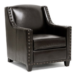 Baxton Studio - Baxton Studio Wallace Dark Brown Modern Club Chair - For a faux leather club chair, the bold details make this modern living room chair stand out from the crowd. Designed with a square shape in mind, the Wallace Club Chair is then accented with large metal nail heads along the top of the armrests. A solid wood and plywood hybrid frame with foam cushioning and black wood legs is a dependable base for the supple dark brown faux leather that upholsters the chair. To clean, wipe with a dry cloth. Made in China; assembly required.